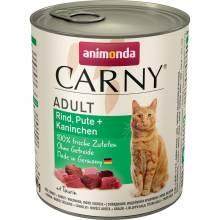 Animonda Консервы Carny Adult с индейкой и кроликом для взрослых кошек всех пород - 400 гр х 6 шт