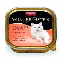 Animonda Консервы Vom Feinsten for castrated cats для кастрированных кошек с индейкой и лососем - 100 гр х 32 шт