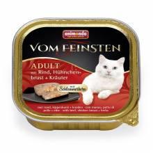 Консервы Animonda Vom Feinsten Adult Меню для гурманов с говядиной, куриной грудкой и травами для взрослых - 100 гр х 32 шт