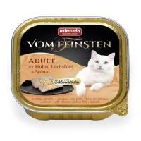 Консервы Animonda Vom Feinsten Adult Меню для гурманов с курицей, филе лосося и шпинатом для взрослых привередливых - 100 гр х 32 шт