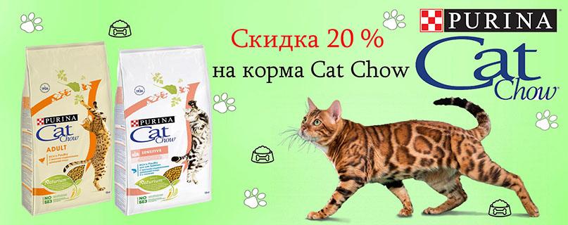 Скидка 20 % на корм для кошек Cat Chow