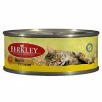 Berkley Adult Cat Beef & Venison № 12 паштет для взрослых кошек с натуральной говядиной и олениной, маслом лосося и ароматным бульоном - 100 г х 6 шт
