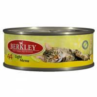 Berkley Adult Cat Light Menu № 14 паштет для взрослых кошек с натуральной телятиной и мясо кролика с пониженным содержанием жира - 100 г х 6 шт