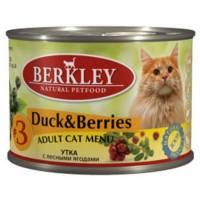 Berkley Adult Cat Menu Duck & Berries № 3 паштет для взрослых кошек с натуральным мясом утки с добавлением лесных ягод - 200 г х 6 шт