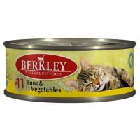 Berkley Adult Cat Tuna & Vegetables № 11 паштет для взрослых кошек с натуральным мясом тунца, овощами, маслом лосося - 100 г х 6 шт