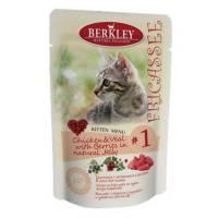 Berkley Fricassee Kitten Menu Chicken & Veal with Berries in natural Jelly № 1 для котят с телятиной, цыпленким и ягодами в желе - 100 г х 12 шт