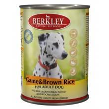 Berkley Adult Dog Game & Brown Rice паштет для взрослых собак с олениной, коричневым рисом, оливковым маслом и ароматным бульоном - 400 г х 6 шт