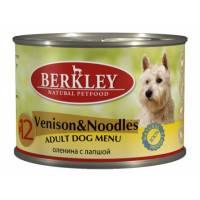 Berkley Adult Dog Menu Venison&Noodles № 12 паштет для взрослых собак с натуральным мясом оленя и лапшой с добавлением льняного масла - 200 г х 6 шт