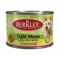 Berkley Adult Dog Light Menu № 11 паштет для взрослых собак с натуральным мясом индейки и ягнёнка с рисом - 200 г х 6 шт