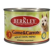 Berkley Adult Dog Menu Game & Carrots № 10 паштет для взрослых собак с мясом дичи с морковью, оливковым маслом и ароматным бульоном - 200 г х 6 шт