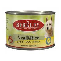 Berkley Adult Dog Menu Veal & Rice № 5 паштет для взрослых собак с натуральной телятиной с рисом и ароматным бульоном - 200 г х 6 шт