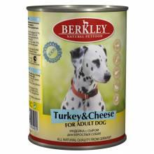 Berkley Adult Dog Turkey & Cheese паштет для взрослых собак с натуральным мясом индейки, сыром, оливковым маслом и ароматным бульоном - 400 г х 6 шт