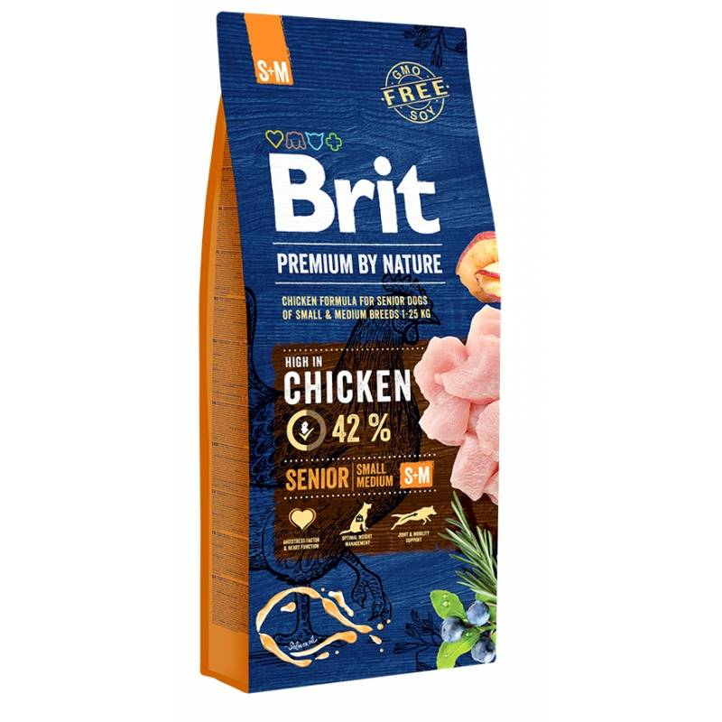 Brit Premium by Nature Senior S+M сухой корм для пожилых собак мелких и средних пород с курицей 3 кг (8 кг) (15 кг)