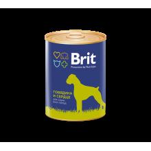 Консервы Brit Premium BEEF & HEARТ для взрослых собак всех пород с говядиной и сердцем - 850 гр х 6 шт