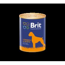 Консервы Brit Premium RED MEAT & LIVER для взрослых собак всех пород с говядиной и печенью - 850 гр х 6 шт