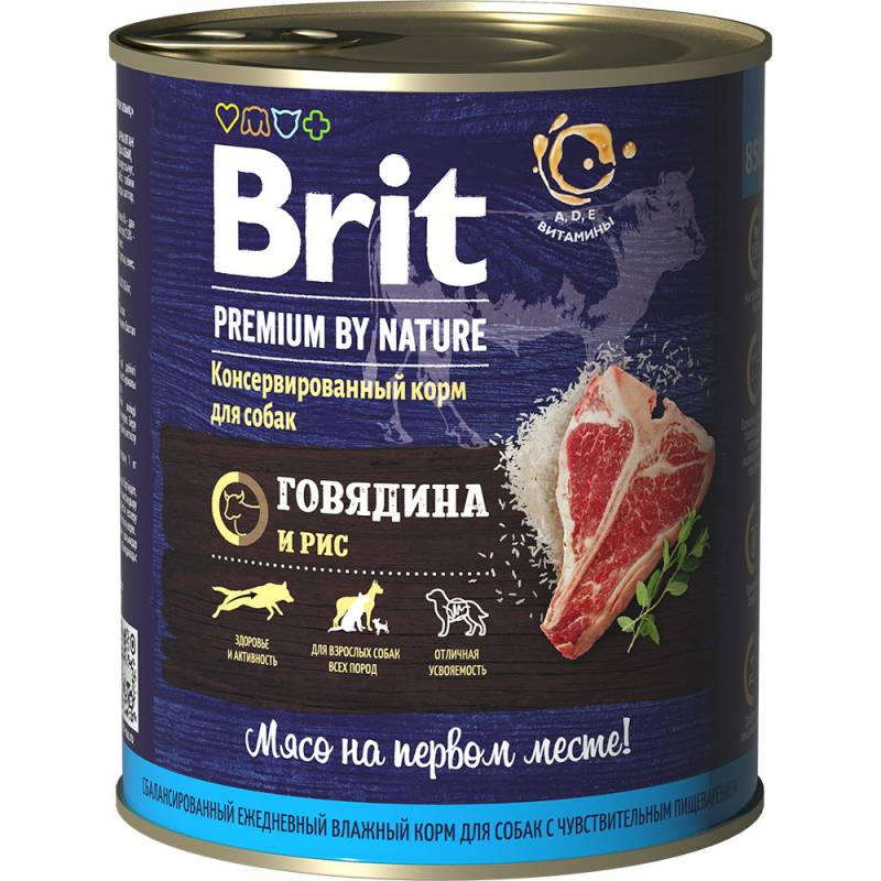 Brit Beef & Rice влажный корм для собак с говядиной и рисом 850 г х 6 шт