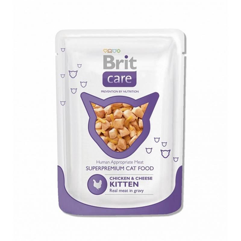 Brit Chicken & Cheese Kitten влажный корм для котят с курицей и сыром 24 шт х 80 гр