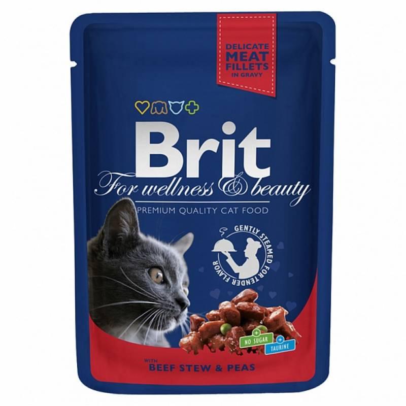 Brit Premium Beef Stew & Peas влажный корм для взрослых кошек с кусочками говядины и горошка 24 шт х 100 гр