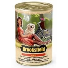 Brooksfield Adult Dog влажный корм для собак с говядиной, индейкой и рисом в консервах - 400 г х 12 шт