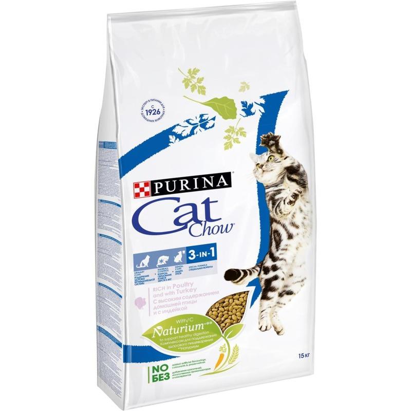 Purina Cat Chow Feline 3 in 1 сухой корм для кошек с формулой тройного действия с домашней птицей 1,5 кг (7 кг), (15 кг)