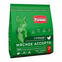 Четвероногий гурман сухой корм Мясное ассорти для кошек с курицей - 400 г (1,5 кг)