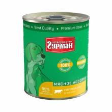 Полнорационный консервированный корм Четвероногий Гурман Мясное ассорти для собак с потрошками - 340 гр х 12 шт