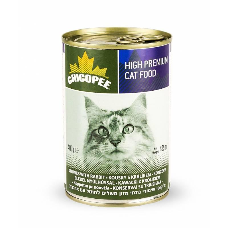 Chicopee Cat Chunks with Rabbit консервы с мясными кусочками кролика в соусе для кошек любого возраста - 400 гр (400 г х 24 шт)