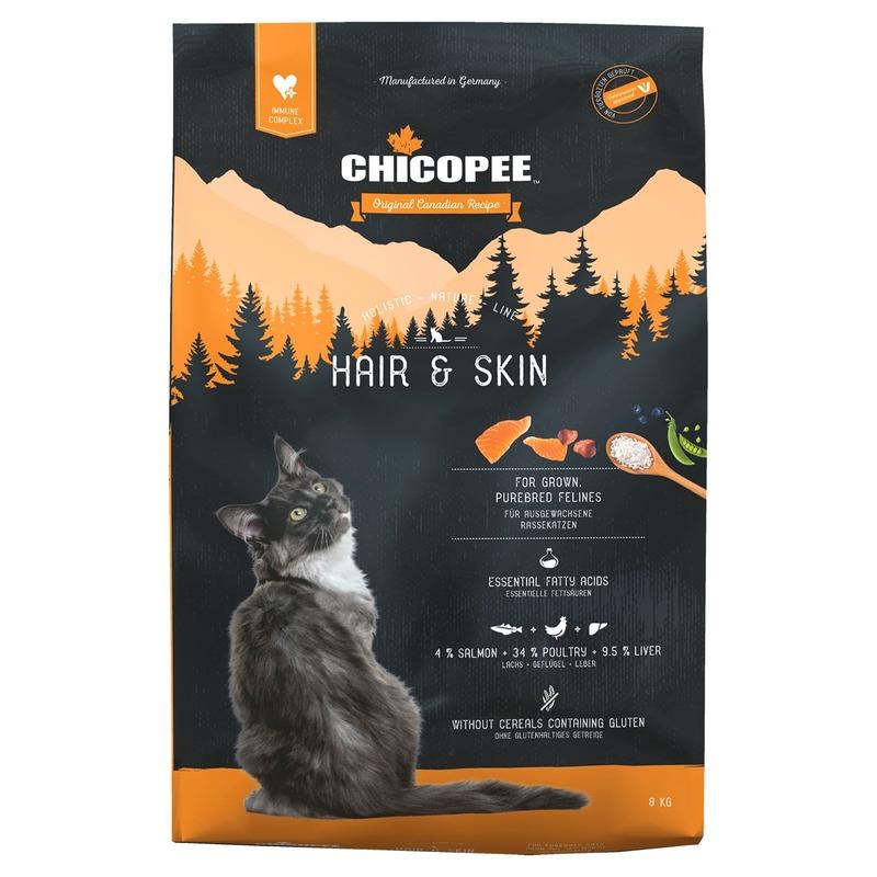 Chicopee Holistic Nature Line Cat Hair & Skin сухой корм для кошек для кожи и шерсти 1,5 кг (8 кг)