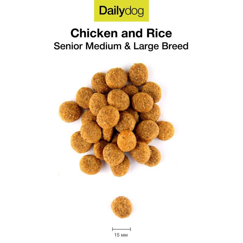 Dailydog Senior Medium & Large Breed для пожилых собак средних и крупных пород с курицей и рисом - 3 кг  (12 кг) (20 кг)