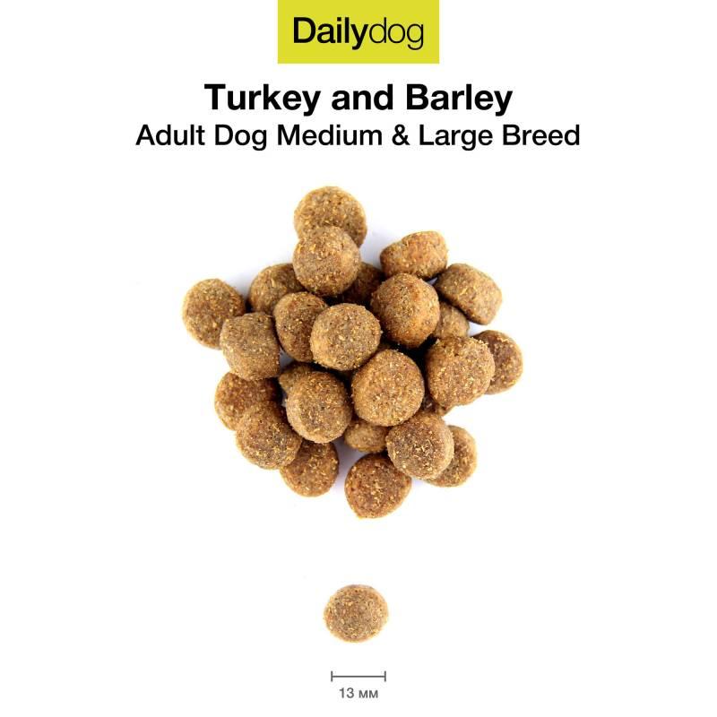 DailyDog Adult Medium and Large Breed turkey and barly сухой премиальный корм с индейкой и ячменем для взрослых собак средних и крупных пород 3 кг (12 кг) (20 кг)