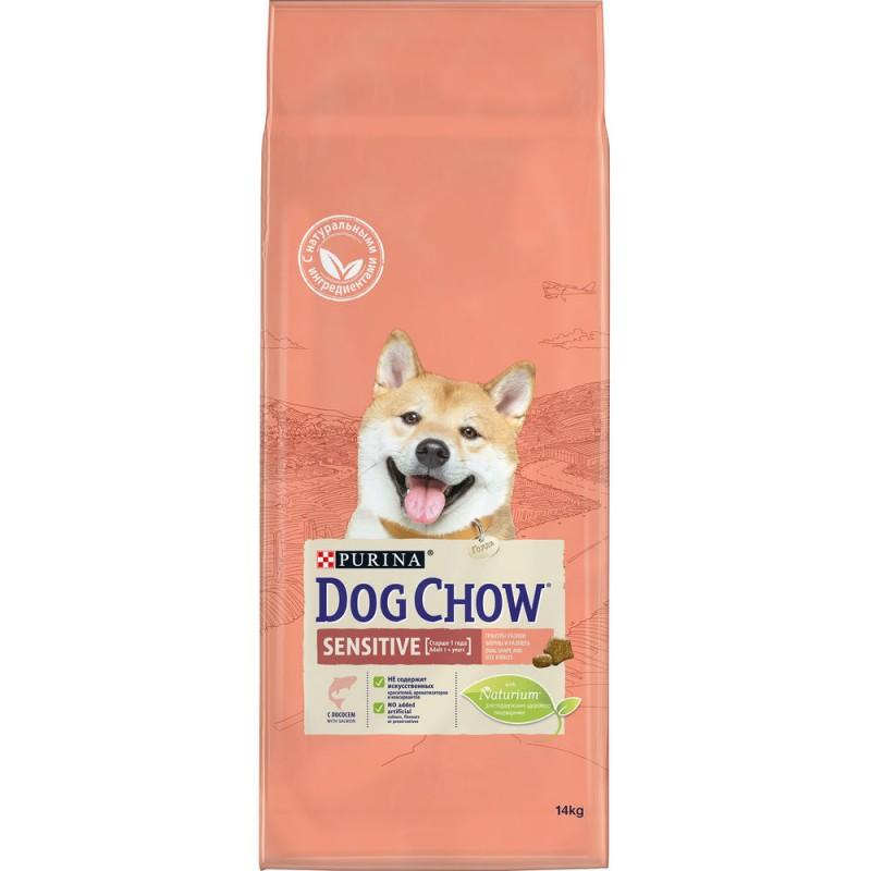 Dog Chow Adult Sensitive Salmon - сухой корм для собак с чувствительным пищеварением с лососем и рисом - 14 кг