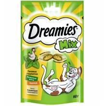 Dreamies лакомые подушечки для взрослых кошек с курицей и кошачьей мятой - 60 г