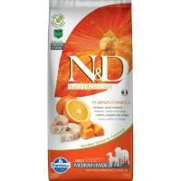 Farmina N&D Dog GF Pumpkin codfish & orange adult medium & maxi беззерновой сухой корм с треской, апельсином и тыквой для взрослых собак средних и крупных пород 12 кг