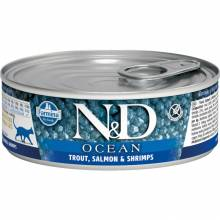 Farmina N&D Ocean влажный корм для взрослых кошек с форелью, лососем и креветками - 80 г х 12 шт