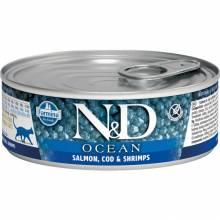 Farmina N&D Ocean влажный корм для взрослых кошек с лососем, треской и креветками - 80 г х 12 шт