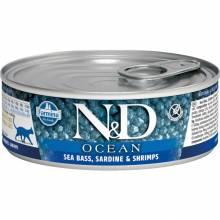 Farmina N&D Ocean влажный корм для взрослых кошек с сибасом, сардина и креветками - 80 г х 12 шт