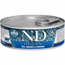 Farmina N&D Ocean влажный корм для взрослых кошек с треской, креветками и тыквой - 80 г х 12 шт