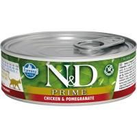 Farmina N&D Prime влажный корм для взрослых кошек с курицей и гранатом - 80 г х 12 шт