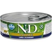 Farmina N&D Prime влажный корм для взрослых кошек с ягненком и черникой - 80 г х 12 шт