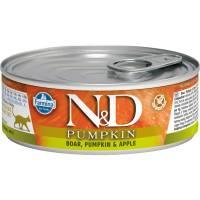 Farmina N&D влажный корм для взрослых кошек с тыквой, мясом кабана и яблоком - 80 г х 12 шт