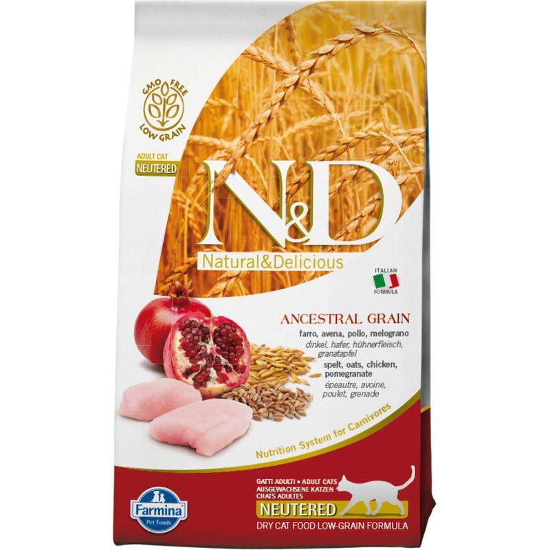 Farmina N&D Low - Grain Feline Chicken & Pomegranate Neutered с курицей и гранатом для взрослых стерилизованных кошек и кастрированных котов - 1,5 кг (5 кг) (10 кг)