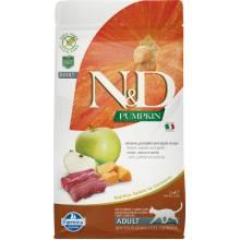Farmina N&D Cat Grain Free pumpkin venison корм для взрослых кошек с олениной, тыквой и яблоком 1,5 кг