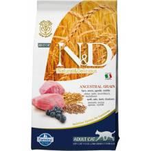 Farmina N&D Low Grain Cat Lamb & Blueberry Adult сухой корм низкозерновой для взрослых котов и кошек с ягненком и черникой -  1,5 кг (5 кг)