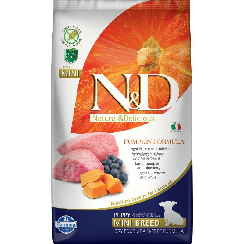 Farmina N&D Dog GF Pumpkin lamb & blueberry puppy mini сухой корм с ягненком, черникой и тыквой для щенков мелких пород - 2.5 кг (7 кг)