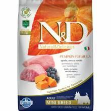 Farmina N&D Dog GF Pumpkin lamb & blueberry adult mini сухой корм с ягненком, черникой и тыквой для взрослых собак мелких пород 2,5 кг (7 кг)