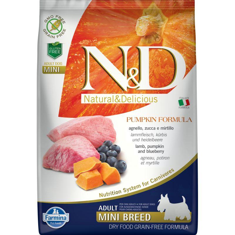 Farmina N&D Dog GF Pumpkin lamb & blueberry adult mini сухой корм с ягненком, черникой и тыквой для взрослых собак мелких пород 800 гр(2,5 кг) (7 кг)