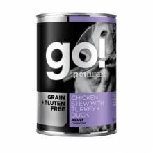 GO! GF DF беззерновой влажный корм для собак с тушеной курицей, индейкой и мясом утки - 400 г х 6 шт