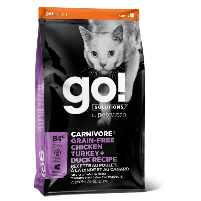 GO! Carnivore GF Chicken, Turkey + Duck беззерновой корм для кошек и котят для котят и кошек 4 вида мяса: курица, индейка, утка и лосось 1,36 кг (3,63 кг) (7,26 кг)