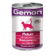 Gemon Cat консервы для кошек кусочки говядины - 415 гр х 24 шт