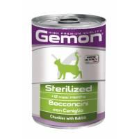 Gemon Cat Sterilised консервы для стерилизованных кошек кусочки кролика - 415 гр х 24 шт